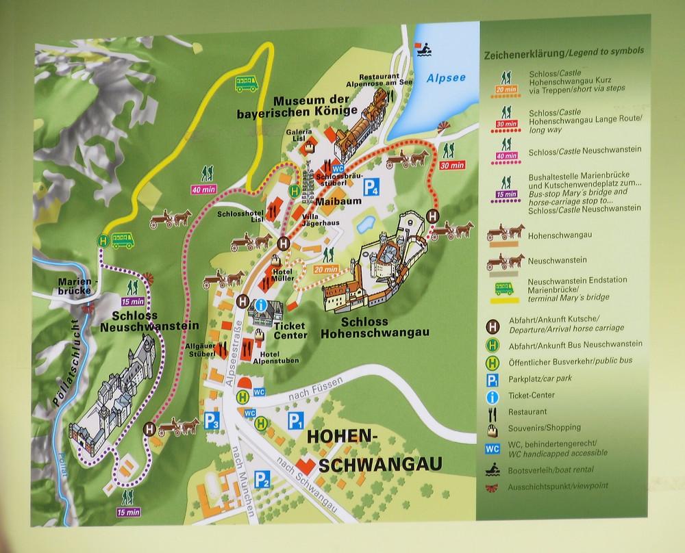 Карта замкового комплекса Хоэншвангау