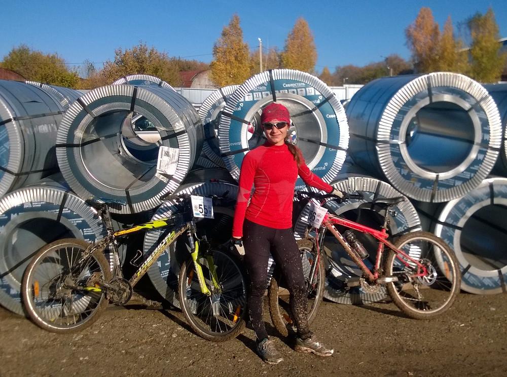 Велосипеды и я после финиша
