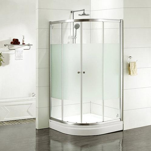 Дверки душевые, полукруглые, шелк, стекло матовое, поддон низкий, 100*100*185 см
