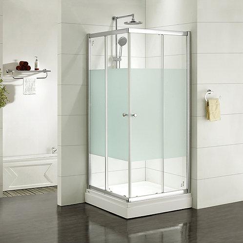 Дверки душевые, квадратные, шелк, стекло матовое, поддон низкий, 90*90*185 см, M