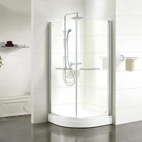 Дверки душевые, полукруглые, глянцевый хром, стекло прозрачное, поддон низкий, 9