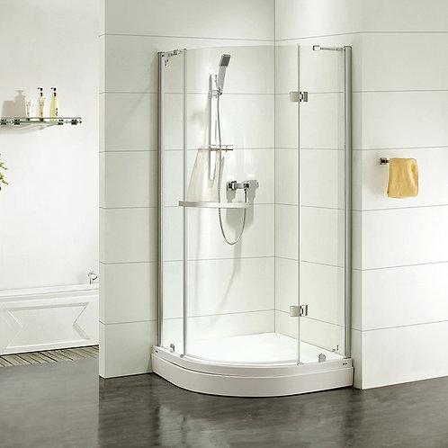 Дверки душевые, полукр, глянцевый хром, стекло прозрачное, поддон низкий, 90*90*