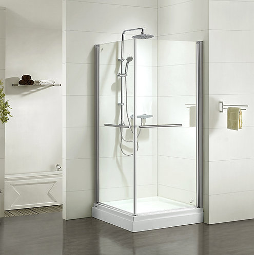 Дверки душевые, квадратные, глянцевый хром, стекло прозрачное, поддон низкий, 90