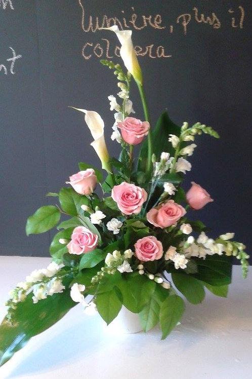 Arrangement lys callas et roses roses
