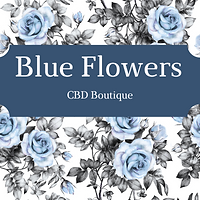 Blue Flowers CBD Boutiqe Sign with Flowe