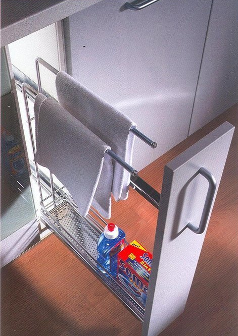 Slide out cleaning caddy with towel rack