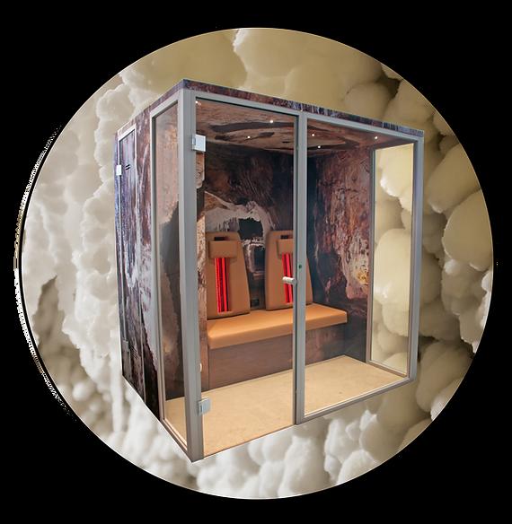 Solevitarium-Duo mit Infrarot-Rückenlehnen im Raumdesign Salzgrotte