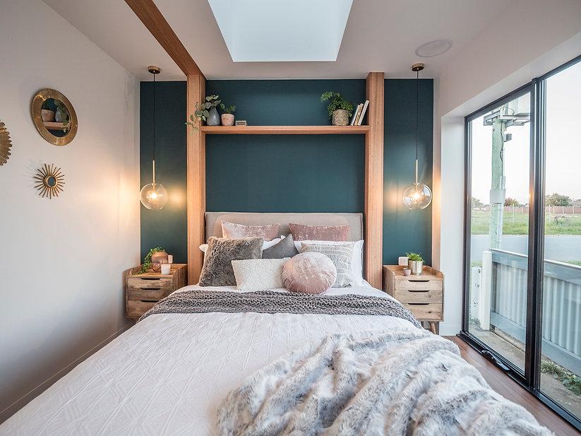 jmb modular builder bedroom interior design teal wall cushions luxury prefab innovative port display home design shepparton