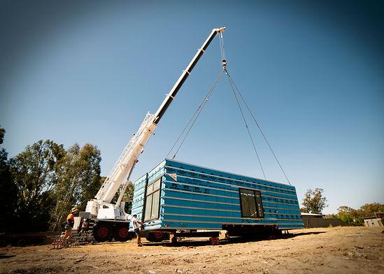 jmb modular builder crane lift install shipping container home tocumwal shepparton prefab construction