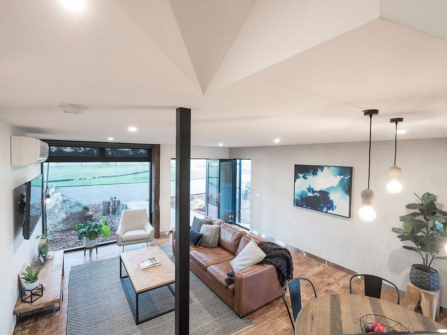 jmb modular builder home kialla lounge room leather couch interior design prefab award construction