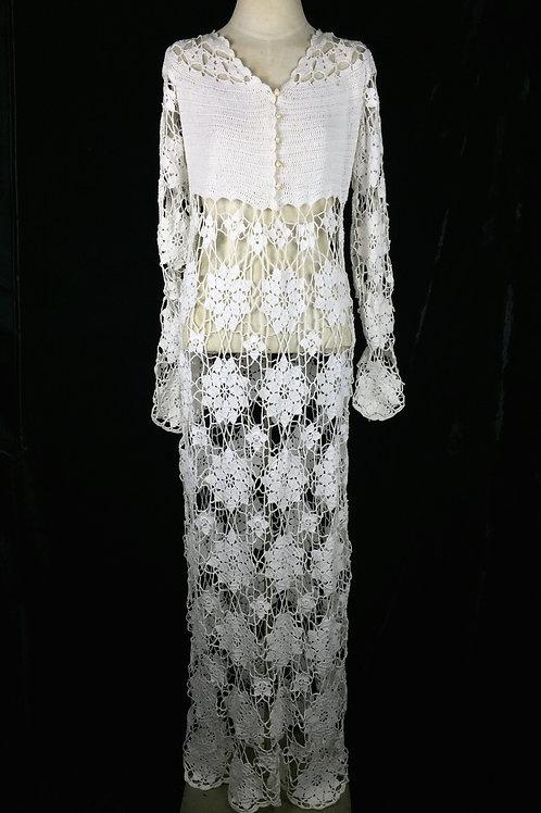 1970s Hand Crochet Dress