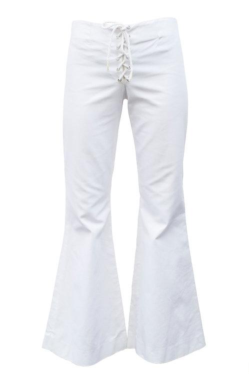 White Cotton Bellbottoms
