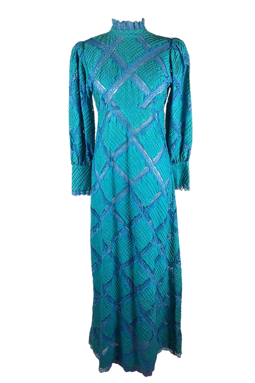 Turquoise Lace Full Length Dress
