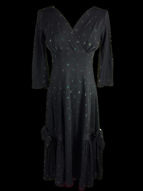 Black Silk With Green Lurex Detail Dress