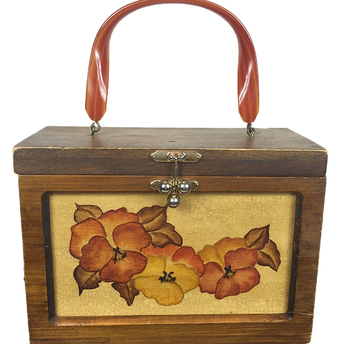 1960s Wood Box Purse