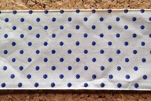 White with Navy Polka Dots