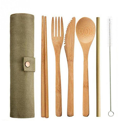 6/7/8pcs/set Straw Kitchen Utensil With Cloth Bag