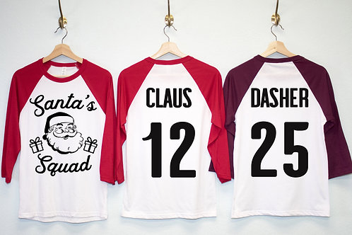 SANTA'S SQUAD Customized Christmas Shirts - Pick Name & Number