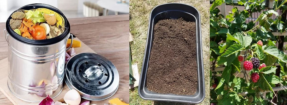 A mini composter with odor absorbing carbon filter for the kitchen