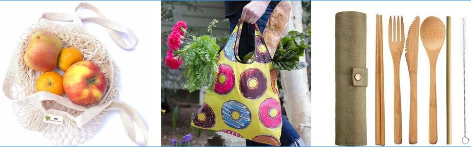 Zero waste, sustainable shopping and produce bags and kitchenware