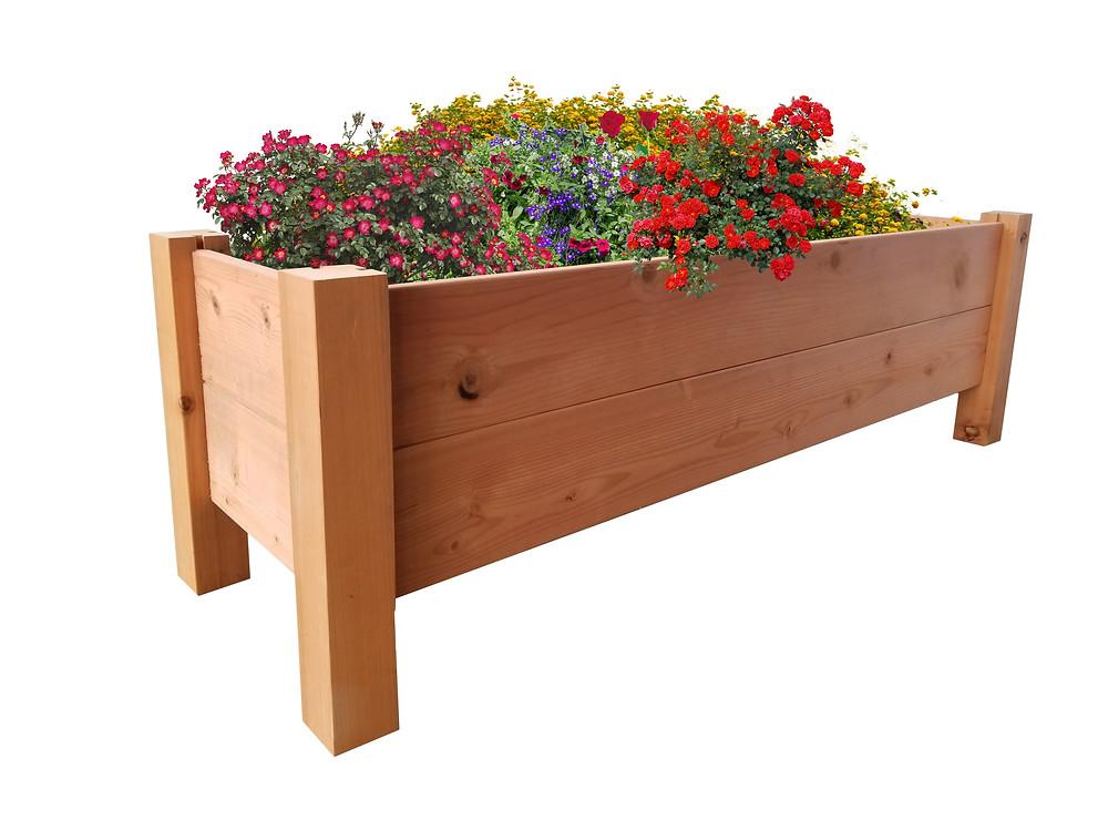 Redwood elevated garden bed