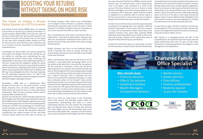 Boosting Your Returns Without Taking On More Risk - Published in Family Office Magazine, Autumn 2017