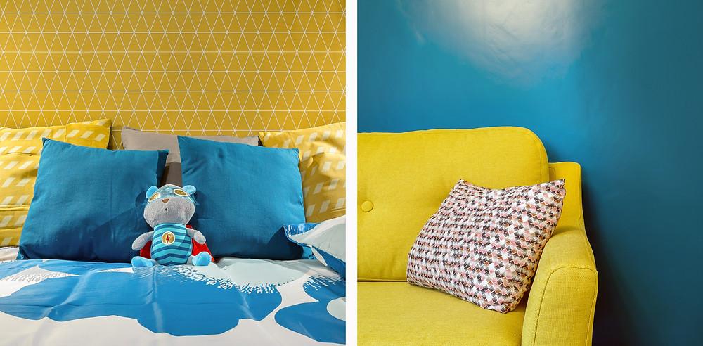 Montage chambre-salon. Un 3 pièces vintage dans Lyon 6 © lalaklak, décoratrice Lyon 4 Croix-Rousse