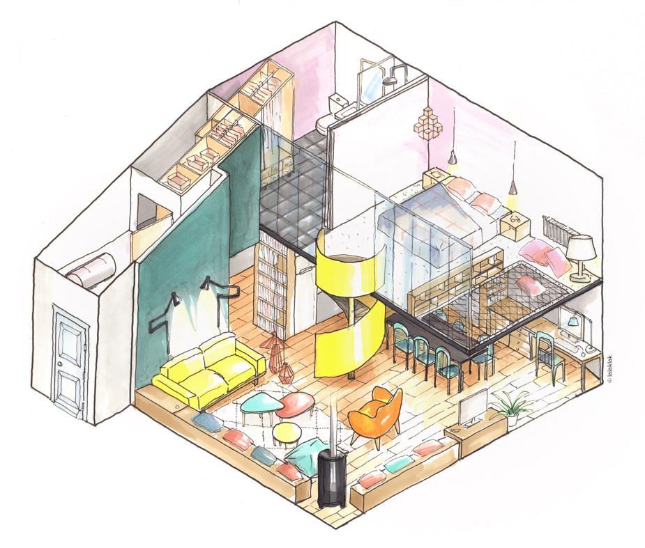 Axonométrie studio mezzanine © lalaklak, décoratrice et architecte d'intérieur Lyon 4 Croix-Rousse