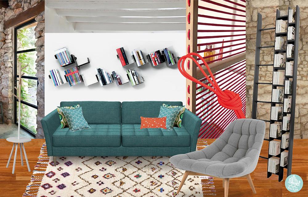 Ambiance canut design studieux © lalaklak, décoratrice et architecte d'intérieur Lyon 4 Croix-Rousse
