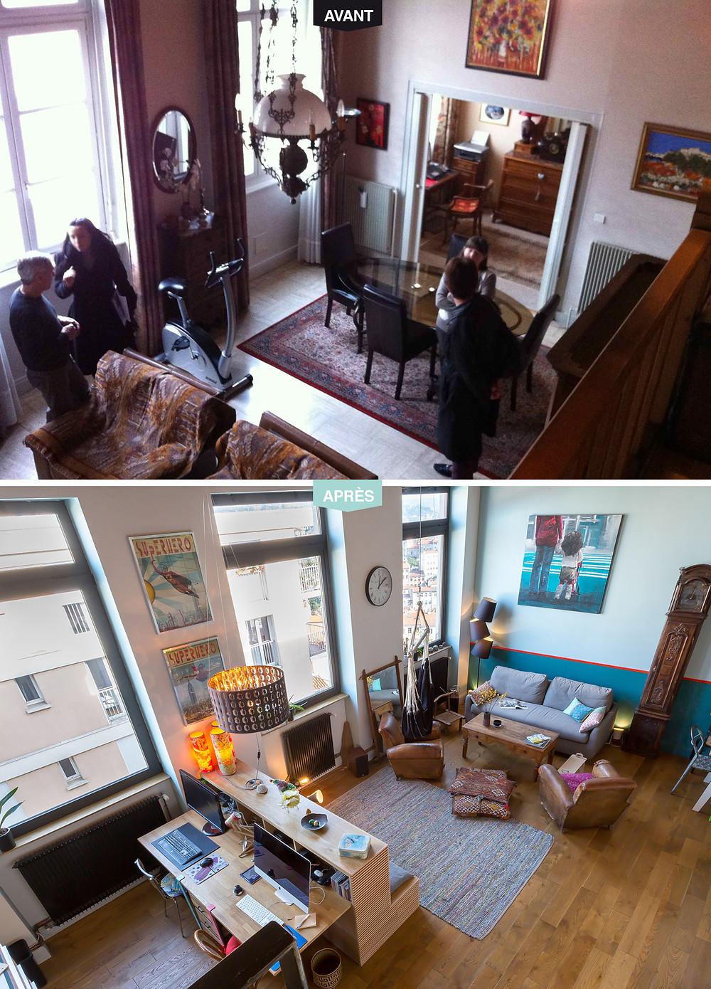 avant-après_piece de vie- Canut Mix & match © lalaklak, décoratrice et architecte d'intérieur Lyon 4 Croix-Rousse
