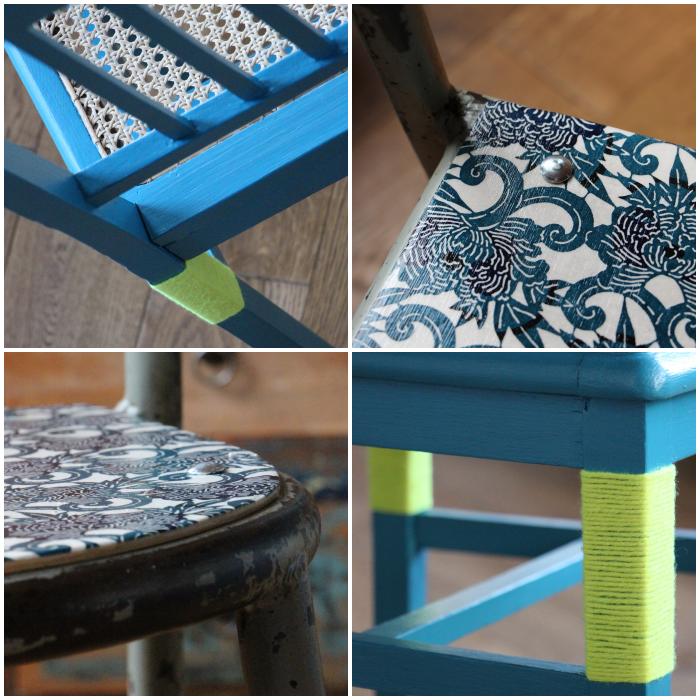 Customisation de chaises brocante et industrielle © lalaklak, décoratrice et architecte d'intérieur Lyon 4 Croix-Rousse