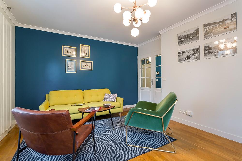 Salon. Un 3 pièces vintage dans Lyon 6 © lalaklak, décoratrice Lyon 4 Croix-Rousse