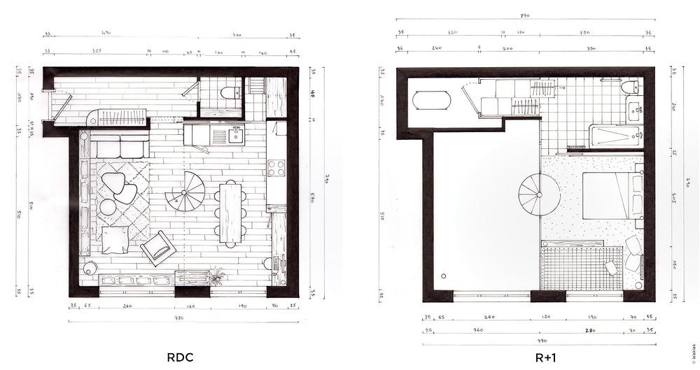 Plan studio mezzanine © lalaklak, décoratrice et architecte d'intérieur Lyon 4 Croix-Rousse