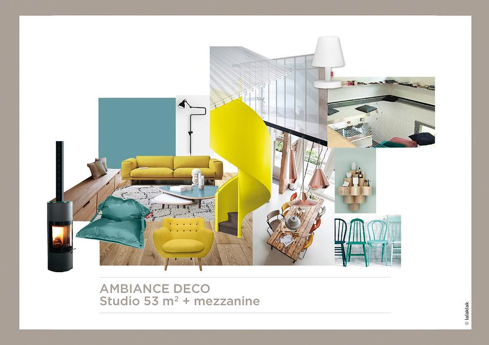 Planche d'ambiance studio mezzanine © lalaklak, décoratrice et architecte d'intérieur Lyon 4 Croix-Rousse