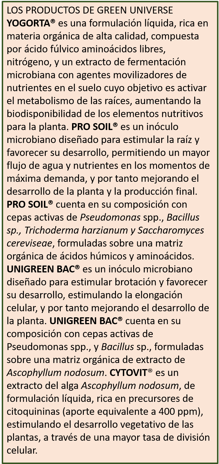 Productos Green Universe Agriculture