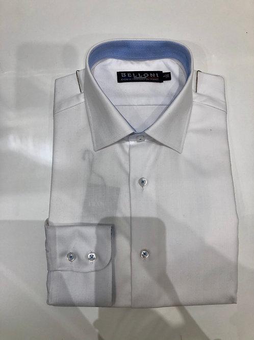 Belloni | Chemise en chevron blanche, coupe droite