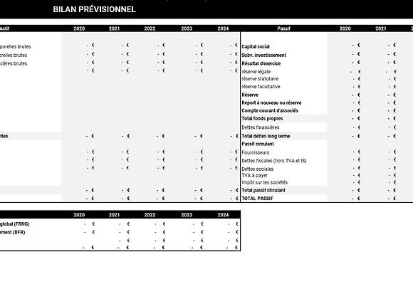 Modèle du bilan prévisionnel sur 3 ou 5 ans