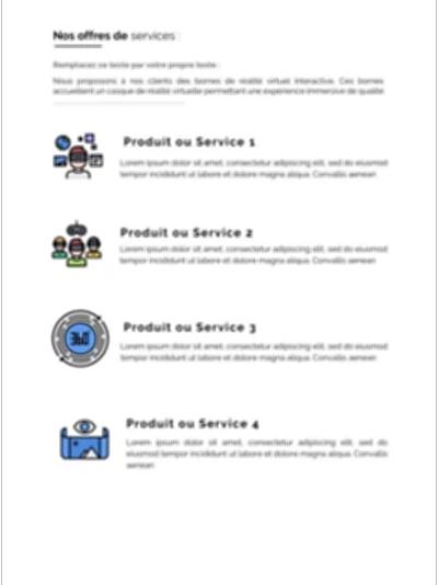 la présentation des produits et services