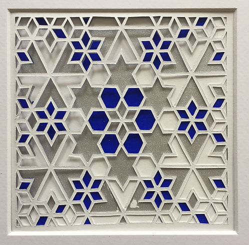 Star Cutout - Blue, Silver (FRAMED)