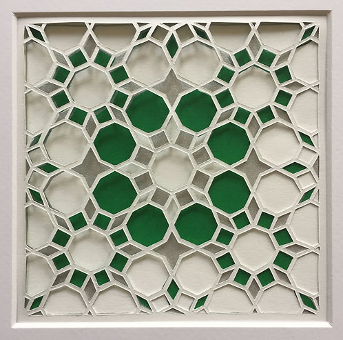 Octagon Cutout - Green, Silver (FRAMED)