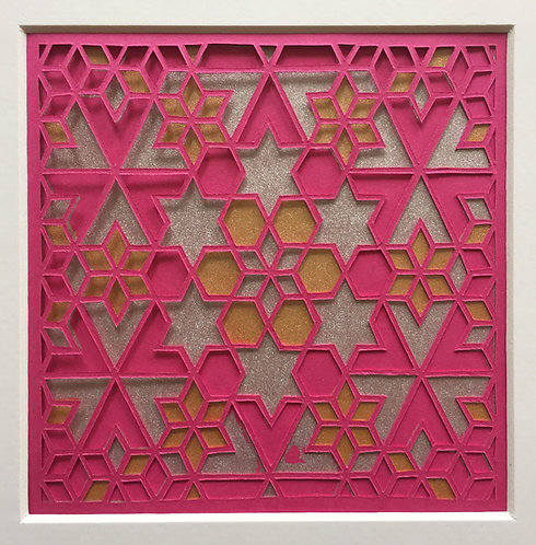 Star Cutout - Pink, Gold, Silver (FRAMED)