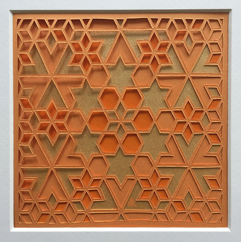 Star Cutout - Orange, Orange, Gold (FRAMED)