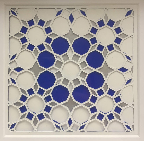 Octagon Cutout - Blue, Silver (FRAMED)