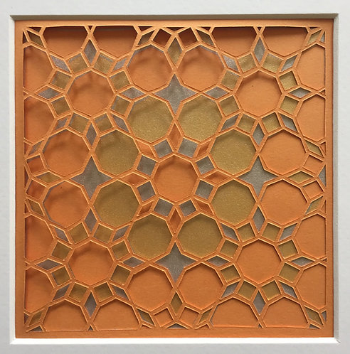 Octagon Cutout - Orange, Gold, Silver (FRAMED)