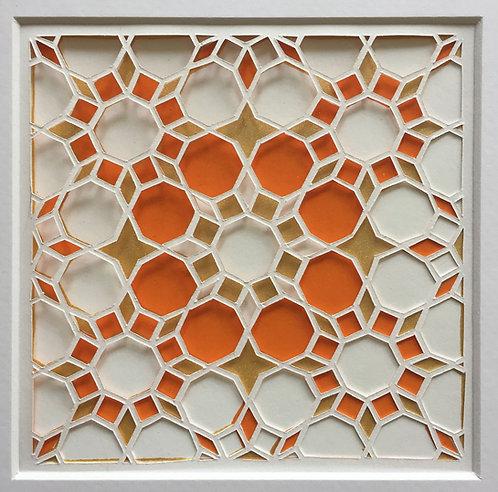 Octagon Cutout - Orange, Gold (FRAMED)