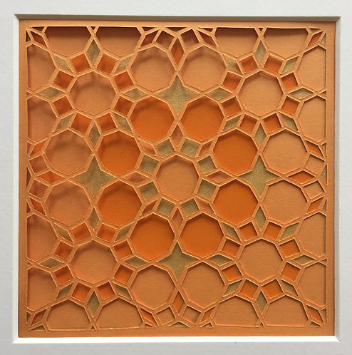 Octagon Cutout - Orange, Orange, Gold (FRAMED)