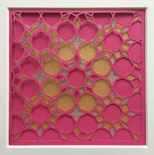 Octagon Cutout - Pink, Gold, Silver (FRAMED)