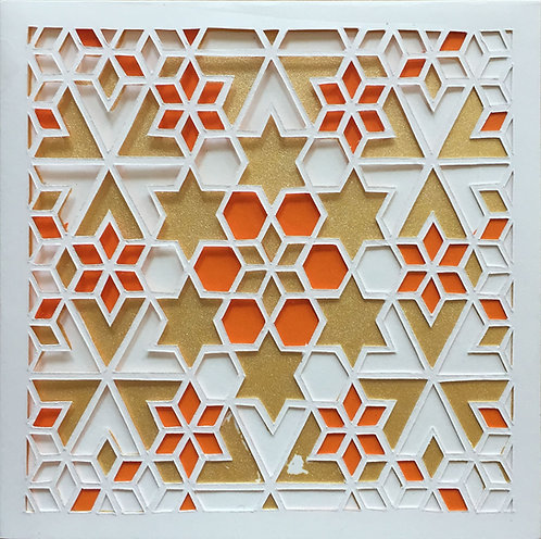 Star Cutout - Orange, Gold (FRAMED)