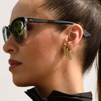 Flat Golden Tube Earrings