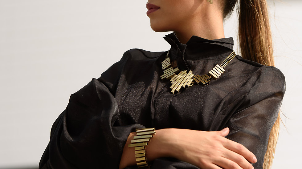 Golden Flat Tube Necklace